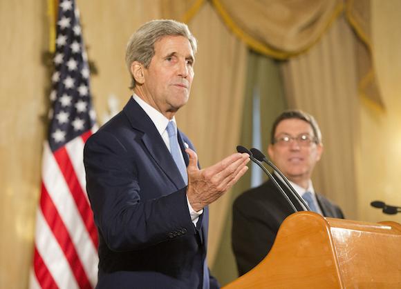 El Secretario de Estado John Kerry  durante la conferencia de prensa en el Hotel Nacional. Foto: Pablo Martínez/ AP