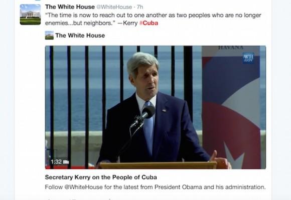 """""""Ahora es el momento de llegar el uno al otro como dos pueblos que no son más enemigos ... sino vecinos."""" -Kerry #Cuba"""