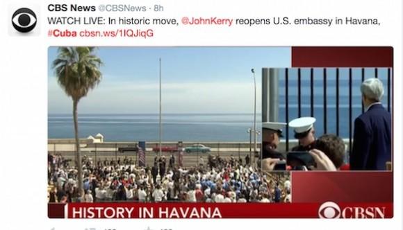 En histórica movida, Kerry reabre la Embajada de EEUU en Cuba.