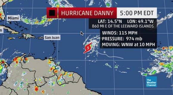 Huracán Danny alcanza categoría 3 en el Atlántico