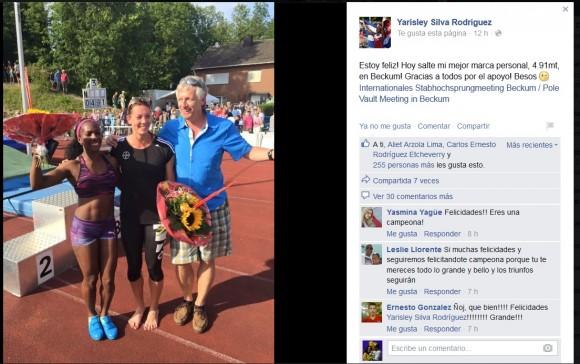 Yarisley se congratula en su cuenta de Facebook por la magnífica faena de este domingo.