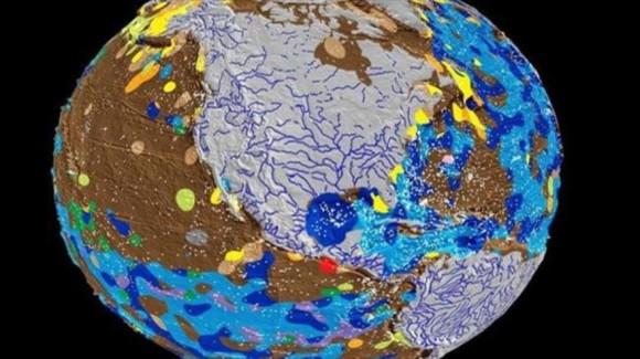 Foto fija del primer mapa digital de la geología del fondo marino en la Tierra.