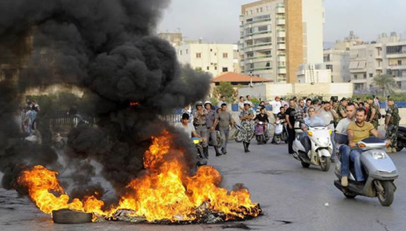Protestas en Beirut por crisis de la basura. Foto: PL.