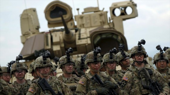 Soldados estadounidenses durante la ceremonia de apertura de ejercicios conjuntos con Georgia en las afueras de la ciudad de Tiflis, 11 de mayo de 2015. Foto: AFP