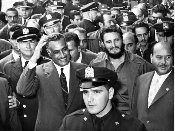 El presidente de la República Arabe Unida (RAU) Gamal Abdel Nasser, arribó las 1005 de la mañana al hotel Theresa en Harlem, para visitar al Comandante en Jefe Fidel. Foto: UPI