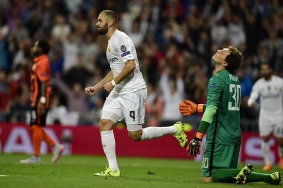 Benzema marcó la ventaja para Real Madrid.  Foto: AFP.