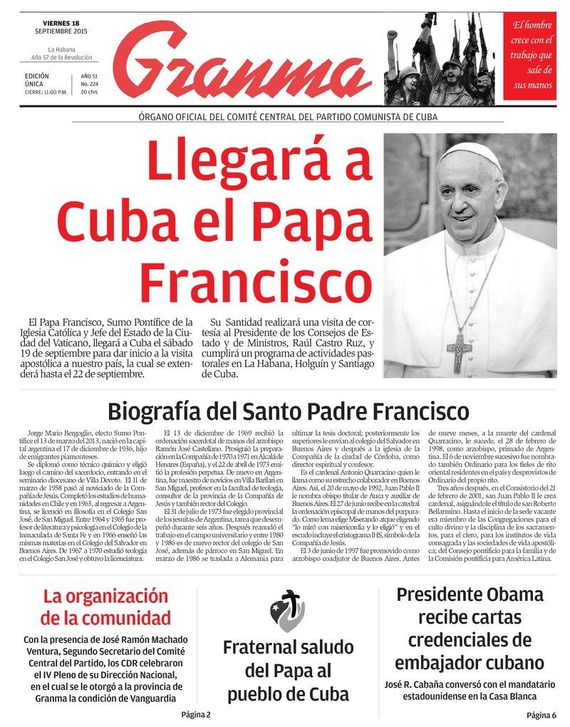 Qu trae la prensa cubana viernes 18 de septiembre de for Noticias actuales de espectaculos