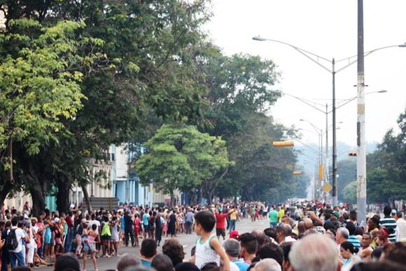 La avenida Salvador Allende, justo antes del paso del Sumo Pontífice. Foto: José Raúl Concepción