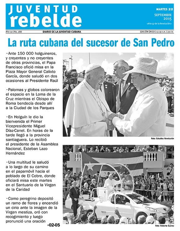 Periódico Juventud Rebelde, martes 22 de septiembre de 2015
