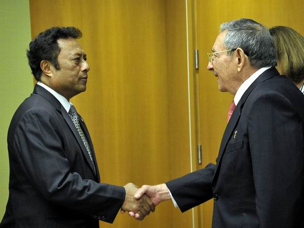 La ceremonia de establecimiento de relaciones diplomáticas con Palau contó con la presencia de los presidentes Raúl Castro y Thomas Remengesau, el 26 de septiembre de 2015. Foto: Estudios Revolución