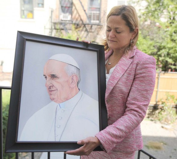 Entregaron al Papa en Nueva York dibujo de Oscar López Rivera y petición de libertad