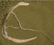 Simulación digital del  monumento prehistórico hallado en Gran Bretaña. Vista aérea. Foto: PA