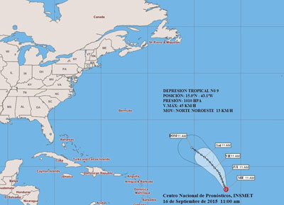 Una nueva depresión tropical se ha formado cerca del Caribe. Foto: Instituto de Meteorología