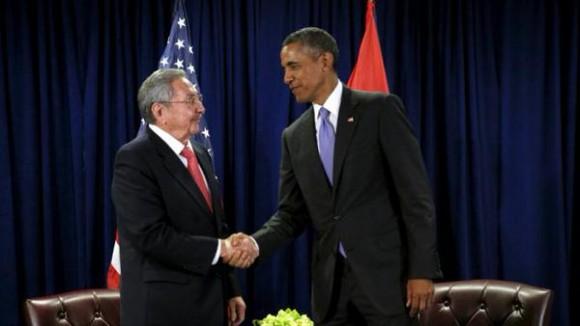 Reunión entre Raúl Castro y Barack Obama en la sede de Naciones Unidas
