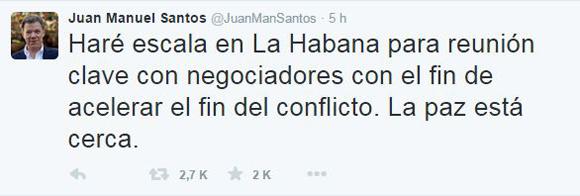 Twitter del Presidente colombiano.