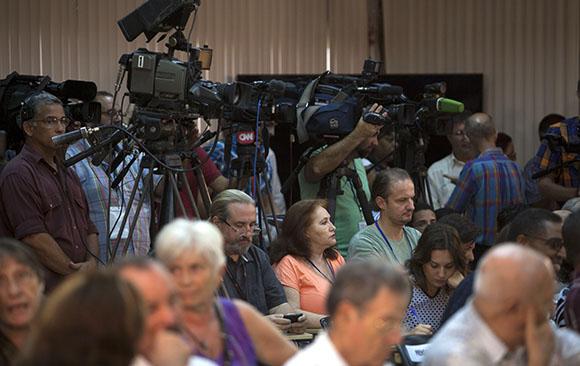 Prensa acreditada en Cuba en la cancilleria. Foto: Ismael Francisco/Cubadebate.