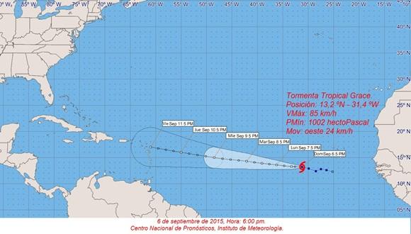 Grace continúa al oeste por el Atlántico oriental. Foto: INSMET.