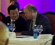 Truong Tan Sang y Rodrigo Malmierca Díaz durante el Forum Empresarial Cuba-Vietnam. Foto: Ladyrene Pérez/ Cubadebate.
