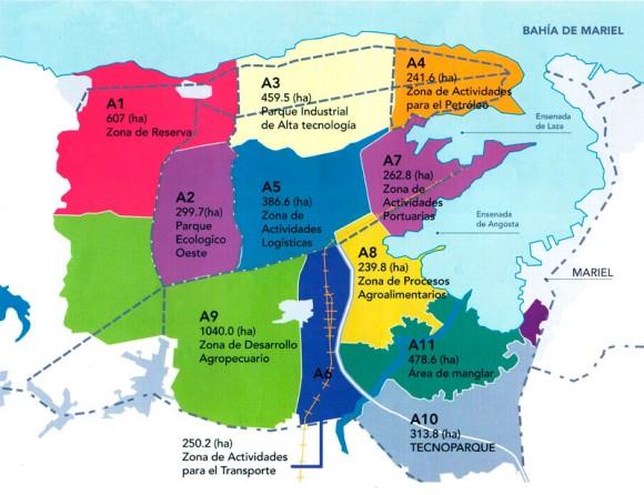 El Sector A, primero en desarrollo dentro de la ZEDM, se ubica en la margen oeste de la bahía de Mariel, abarca 43 km2 (nueve por ciento del territorio total de la Zona) y ha sido dividido en 11 áreas, según las actividades a las que serán destinadas. Gráfico: Caribbean Professional Services Ltd./ Oficina de la ZEDM