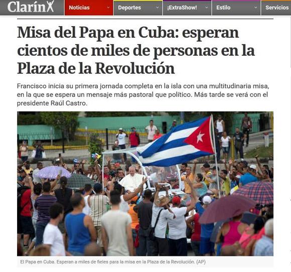 Llegada del Papa Francisco a Cuba en el Clarín.