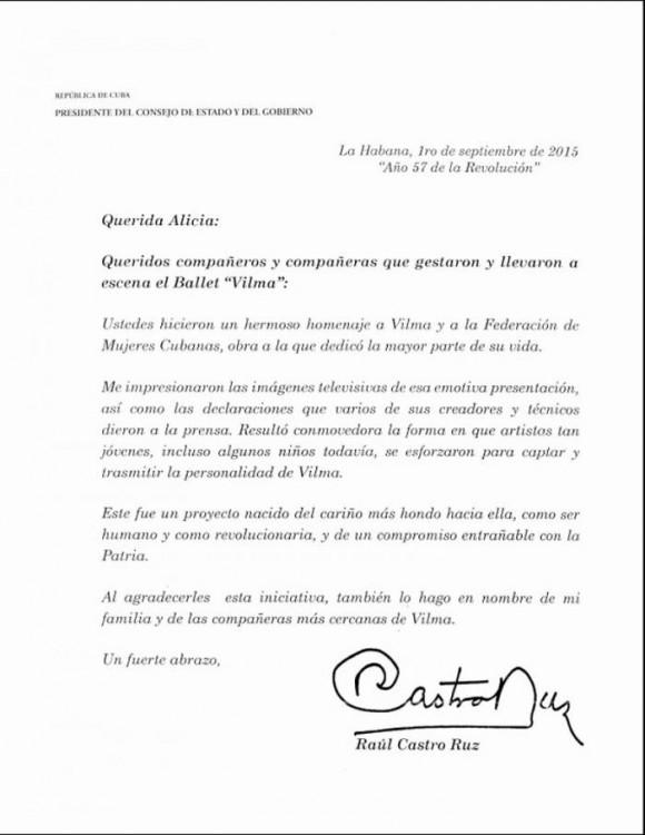 Mensaje de Raúl Castro a Alicia Alonso por homenaje a heroína cubana Vilma Espín
