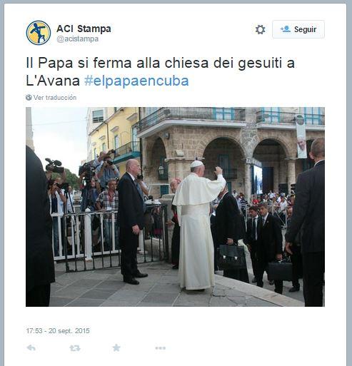 """""""El Papa se detuvo en la iglesia de los jesuitas en La Habana"""". @acistampa"""