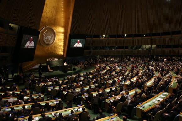 El Papa interviene ante la Asamblea General de la ONU, es el cuarto pontífice que lo hace. Foto: The New York Times