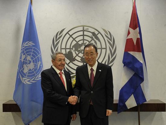 Cerca de las seis, el General de Ejército se reunió en la sede de la ONU con Ban Ki-moon., el 26 de septiembre de 2015. Foto: Estudios Revolución