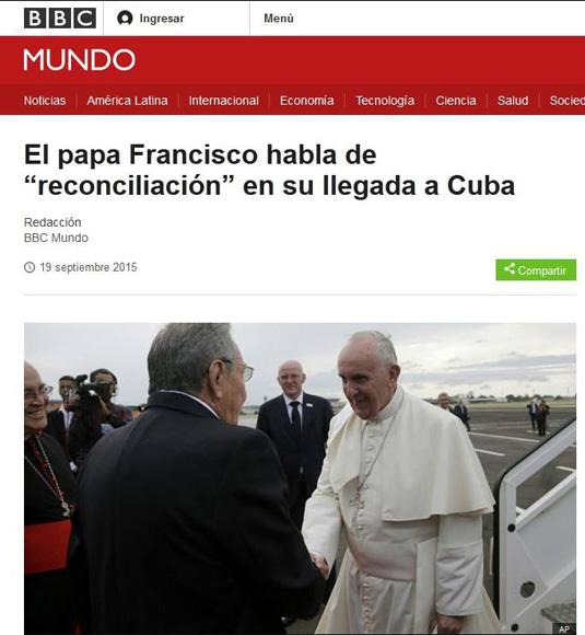 Repercusión de la llegada a Cuba del Papa Francisco en BBC Mundo