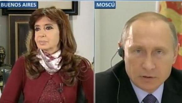 Imagen de la videoconferencia de Cristina y Putin Foto Tomada de www.taringa.net