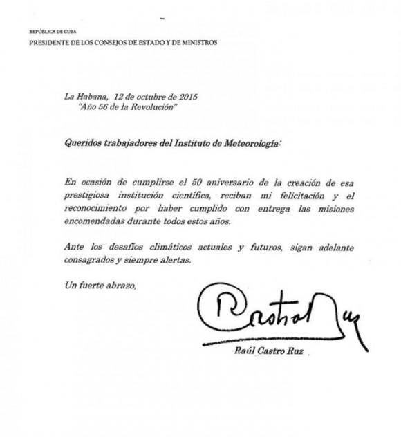 Carta Raúl a INSMET