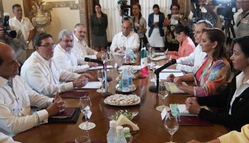 Canciller Bruno Rodríguez recibe a su homóloga de México