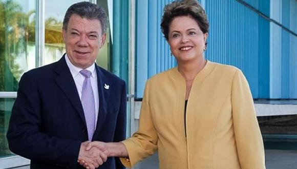 Dilma Rousseff y Juan Manuel Santos. Foto: Tomada de www.colombia.com
