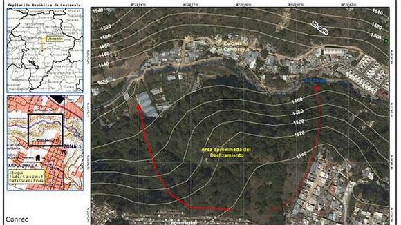 Imagen satelital de la zona del desplazamiento. Foto: Coordinadora Nacional de Guatemala para la Reducción de Desastres.