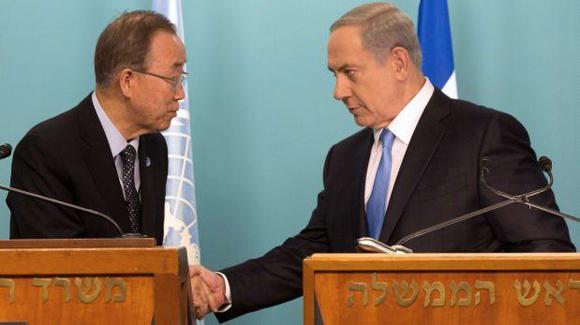 Ban Ki-moon se entrevistó con el primer ministro de Israel Benjamin Netanyahu.Foto: Tomada de http://elcomercio.pe