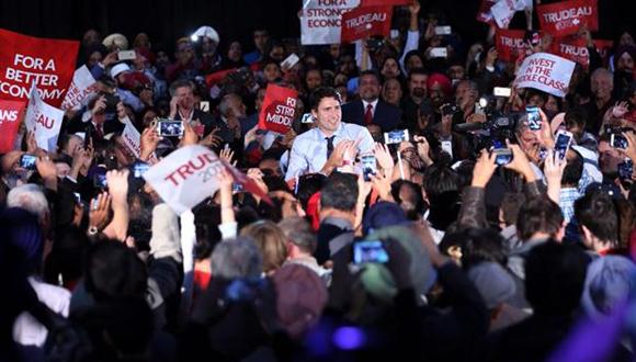 Las proyecciones señalan que el Partido Liberal obtendrá más de 180 diputados Las proyecciones señalan que el Partido Liberal obtendrá más de 180 diputados.Foto:Twitter / @JustinTrudeau
