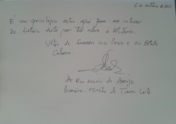 Firma de Rui María de Araujo en el libro de visitas del Memorial José Martí. Foto: José Raúl Concepción/Cubadebate