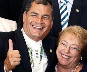 Rafael Correa y Michele Bachelet. Foto: EFE