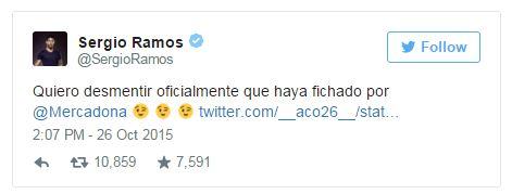 Captura de pantalla del perfil en Twitter de Sergio Ramos