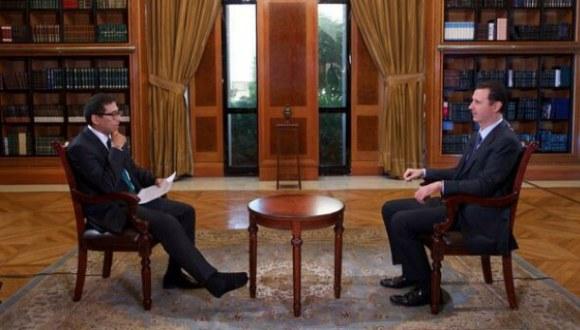 Presidente Bashar Al-Assad durante una entrevista. Foto: Archivo.