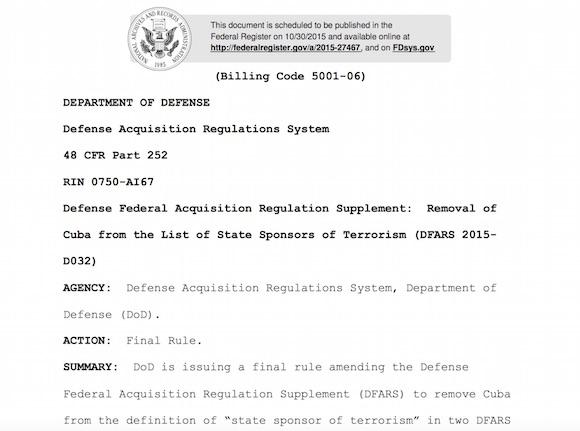 Departamento de Defensa de EE.UU. avala la salida de Cuba de la Lista de países terroristas