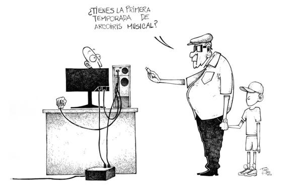 El paquete semanal cada vez ocupa más terreno dentro del consumo cultural en Cuba. Caricatura: Trapero