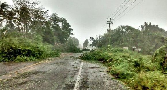 Efectos del huracán Patricia en Malaque, Jalisco. Foto: Policia Federal Mexicana.