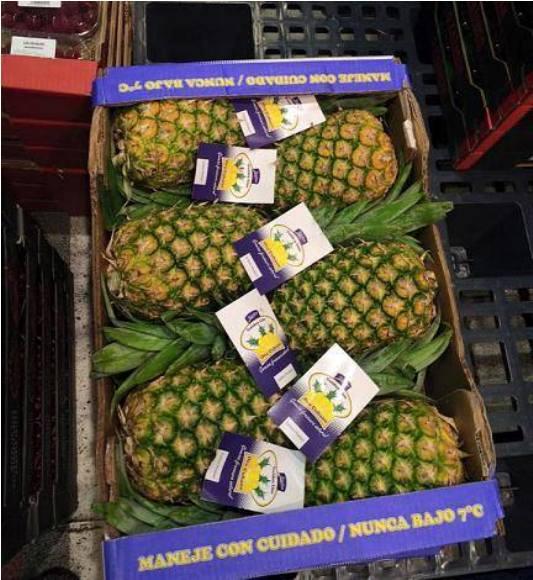 Piña avileña en mercado español. Foto: Facebook de la Embajada de Cuba en España.