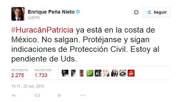 Tweet del Presidente mexicano a porpósito de la llegada del huracán Patricia a tierra mexicana.