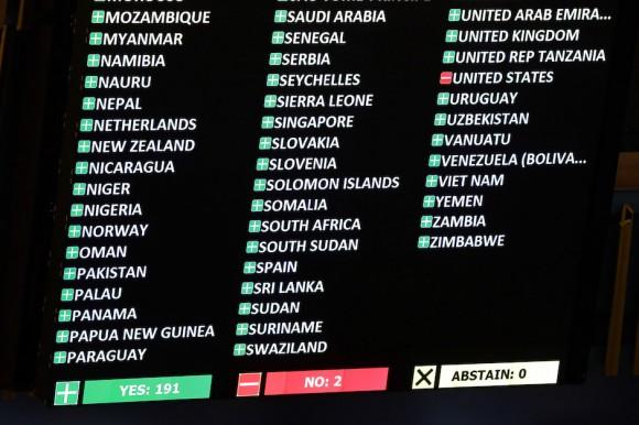 La pantalla electrónica de la sede la ONU. Foto: Richard Drew/ AP