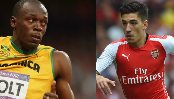 Usain Bolt vs. Hector Bellerin.