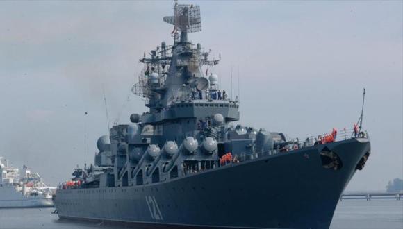 El crucero de misiles ruso Moskva. (Foto: HispanTV)