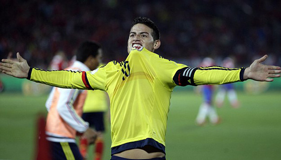James celebra su gol frente a Chile. Foto: AP