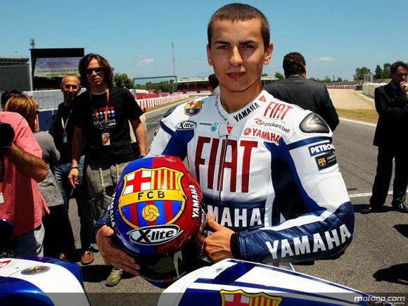 La estrella de Moto GP, Jorge Lorenzo, gran fanático del FC Barcelona.